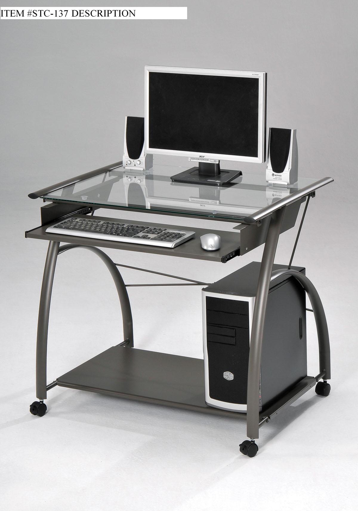 "32"" X 24"" X 30"" Pewter Metal Tube Computer Desk"