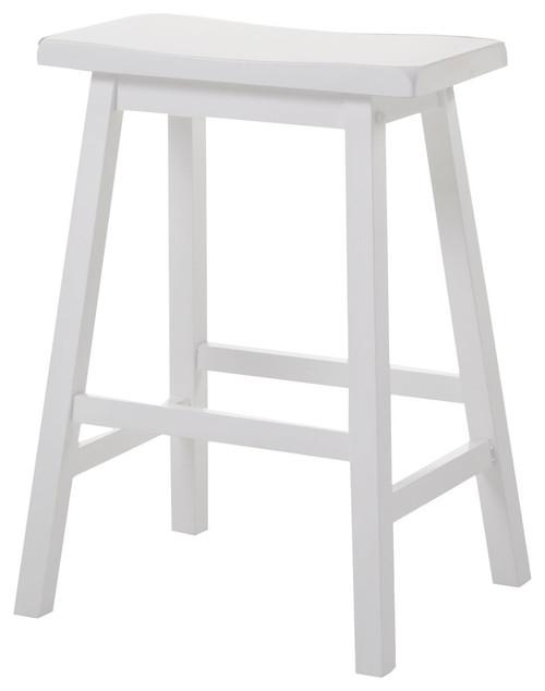 "18"" X 16"" X 29"" White Rubber Wood Bar Stool (Set-2)"