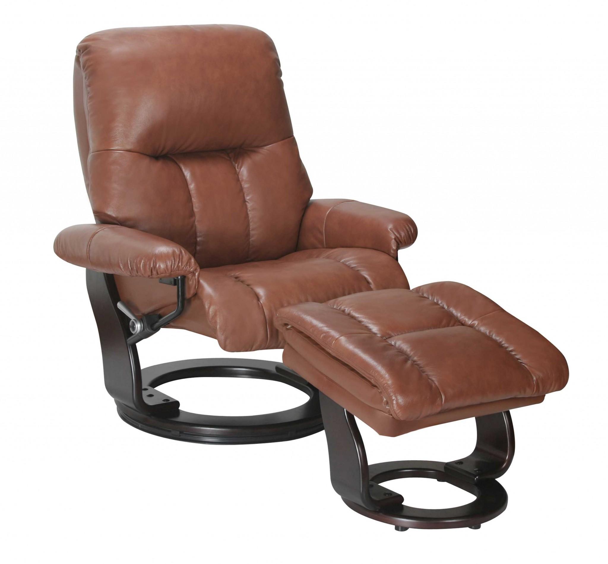 "35"" x 31"" x 40.5"" Llama Cover- Leather & Vinyl match Recliner Chair & Ottoman"