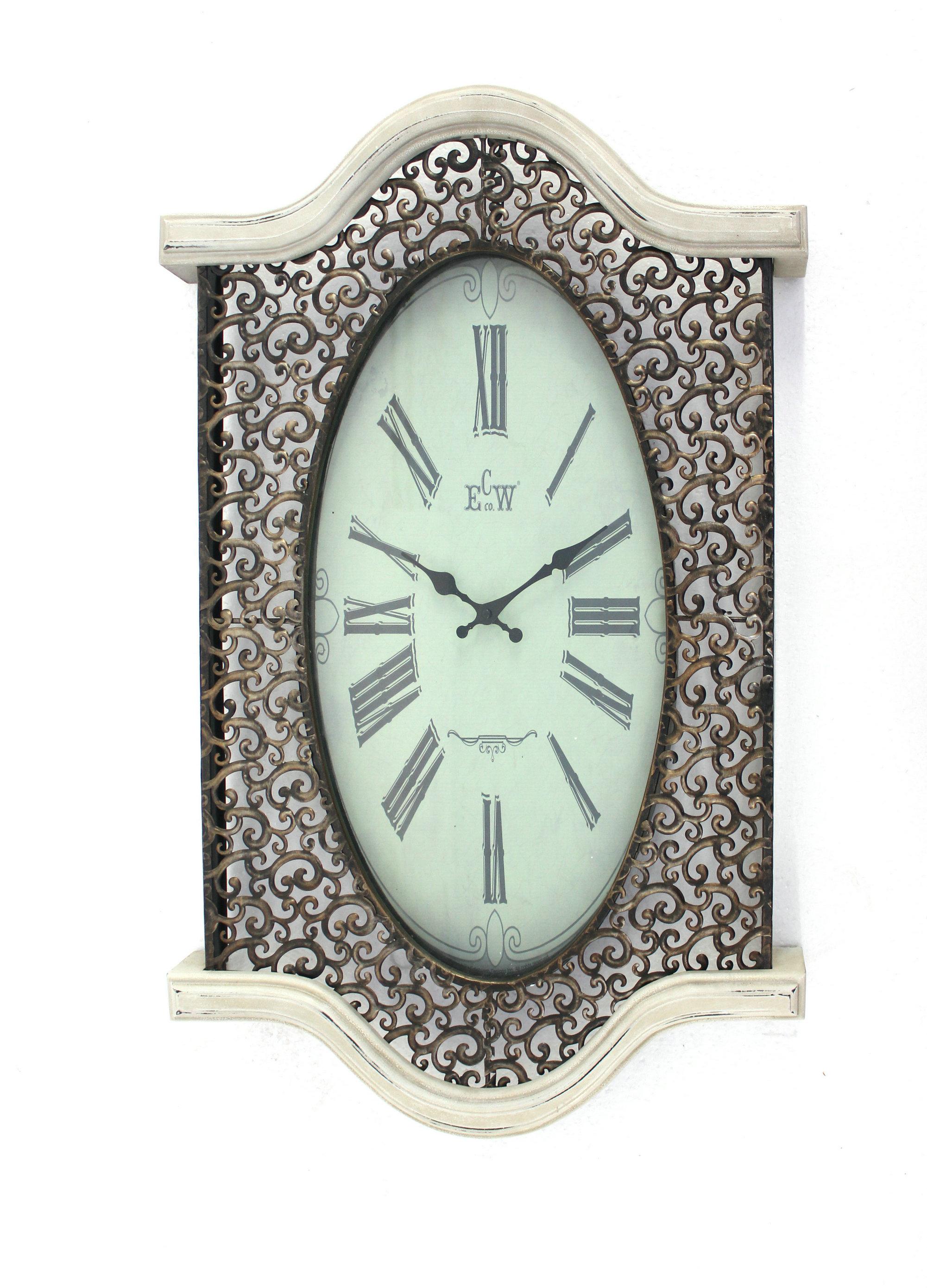 "20"" x 30.5"" x 2.5"" Brown & White Vintage  Wall Clock"
