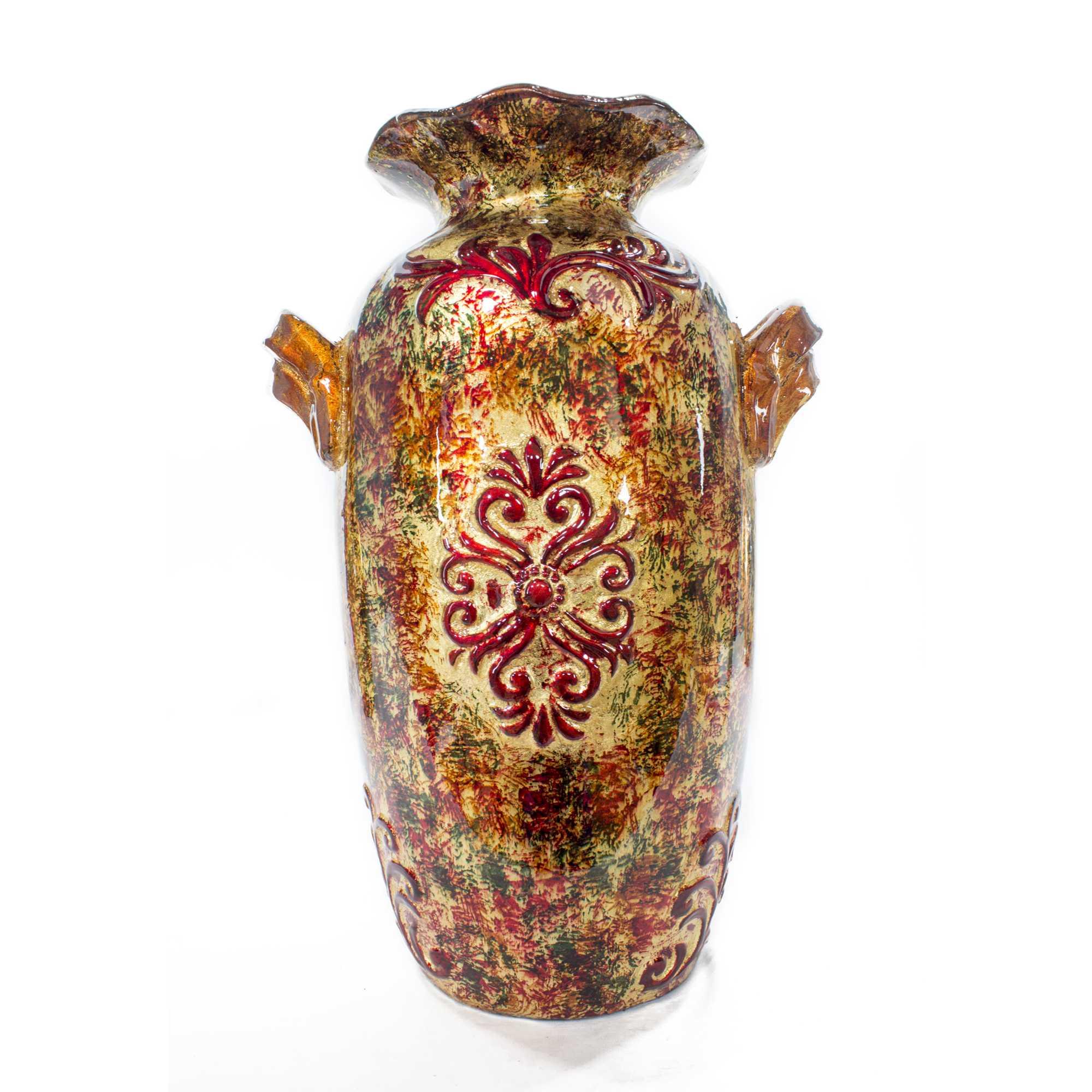 Rea Brown Orange Red Green Ceramic Foil and Lacquer Ruffle Vase