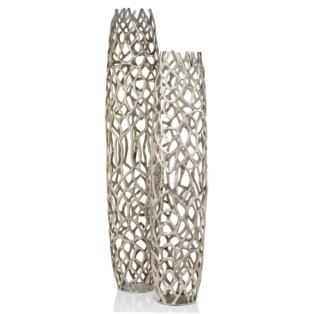 "9"" x 9"" x 40"" Rough Silver Extra Large Twigs Barrel Floor Vase"
