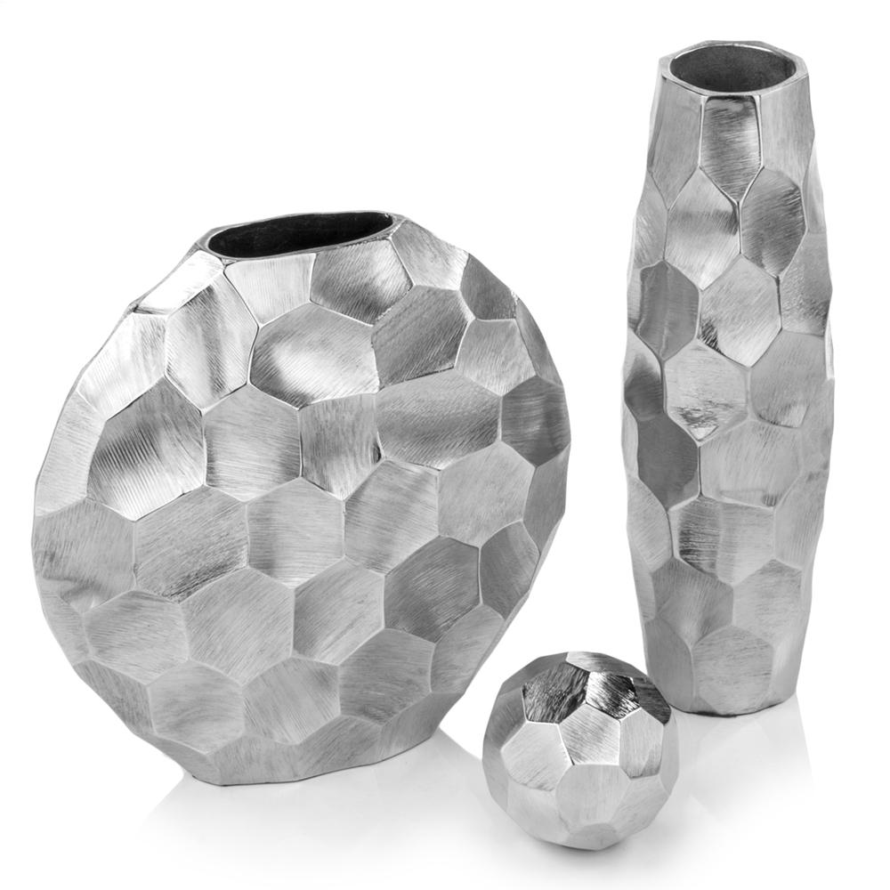 "4"" x 4"" x 14"" Rough Silver Barrel Vase"
