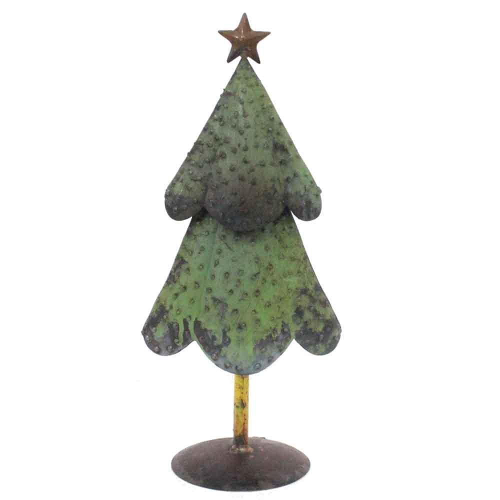 "4.5"" x 6.5"" x 16"" Green Bronze Yellow Reclaimed Iron Christmas Tree"