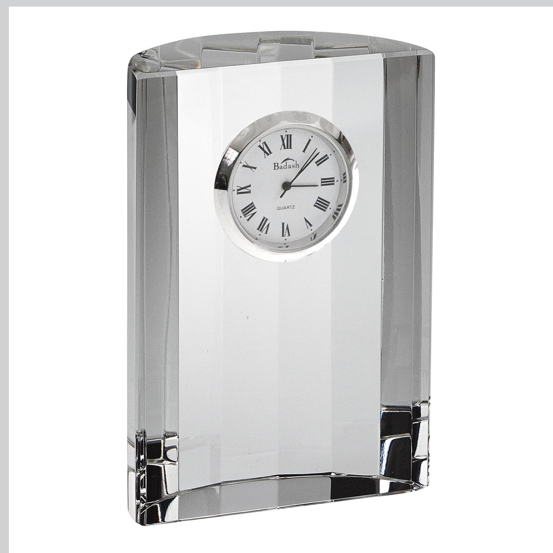 """4"""" Hand Crafted Crystal Half Moon Clock"""