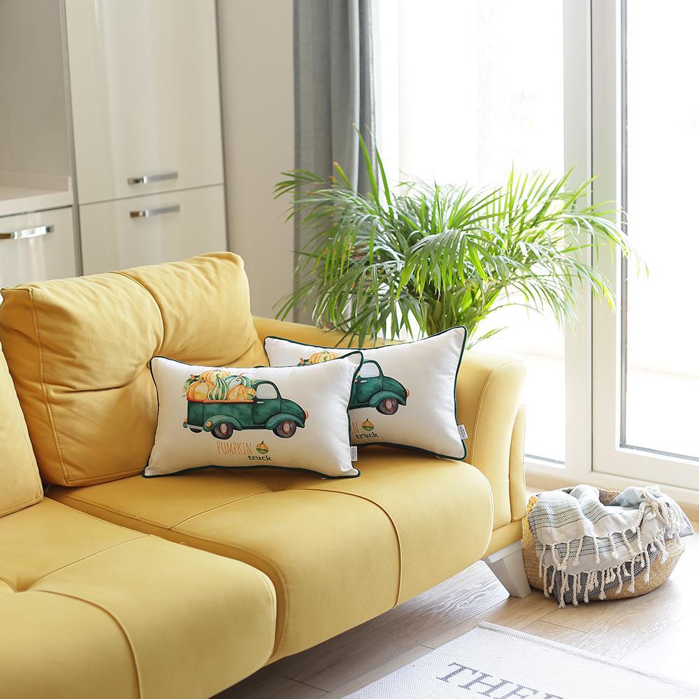 "Set of 2 20""  Pumpkin Truck Lumbar Pillow Cover in Multicolor"
