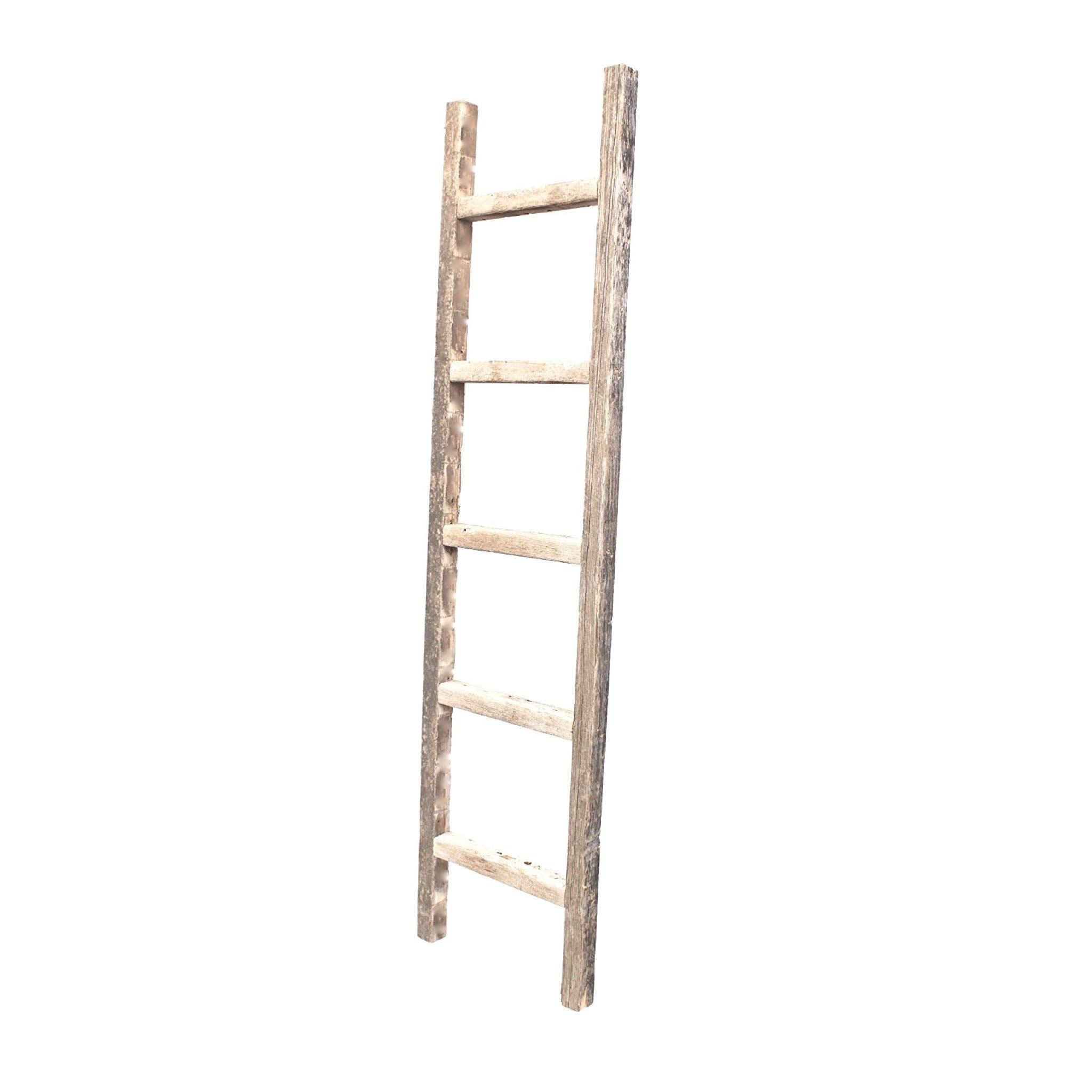4 Step Rustic Weathered Grey Wood Ladder Shelf