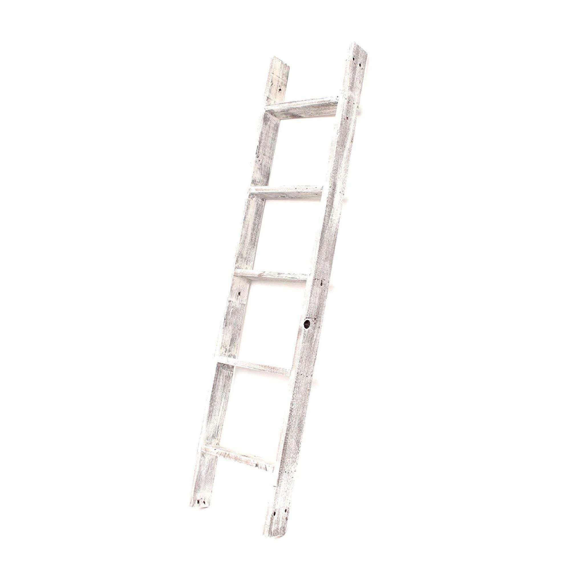 4 Step Rustic White Wood Ladder Shelf