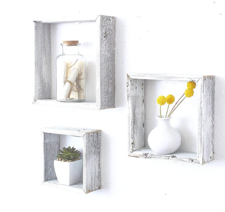 Set of 3 Square Rustic White Wash Wood Open Box Shelve