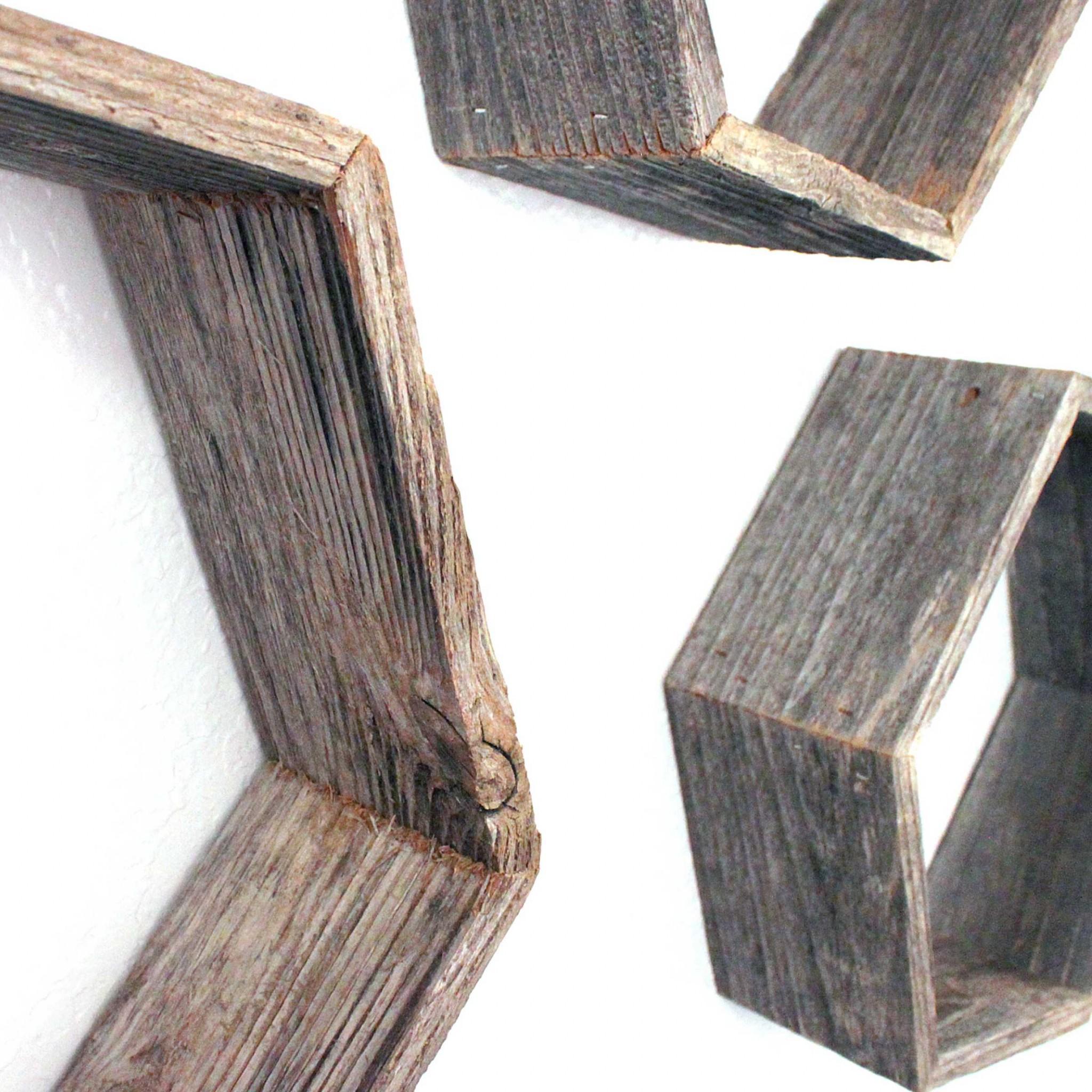 Set of 3 Hexagon Rustic Natural Weathered Grey Wood Open Box Shelve