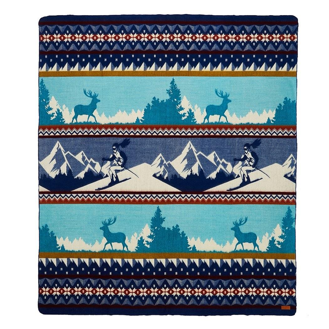 Queen Size Ultra Soft Blue Ski Mountain Handmade Woven Blanket