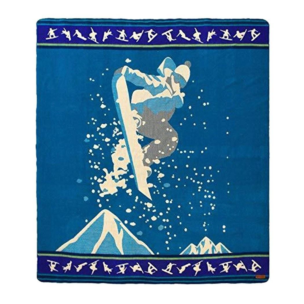 Queen Size Blue Ultimate Snowboarder Handmade Woven Blanket