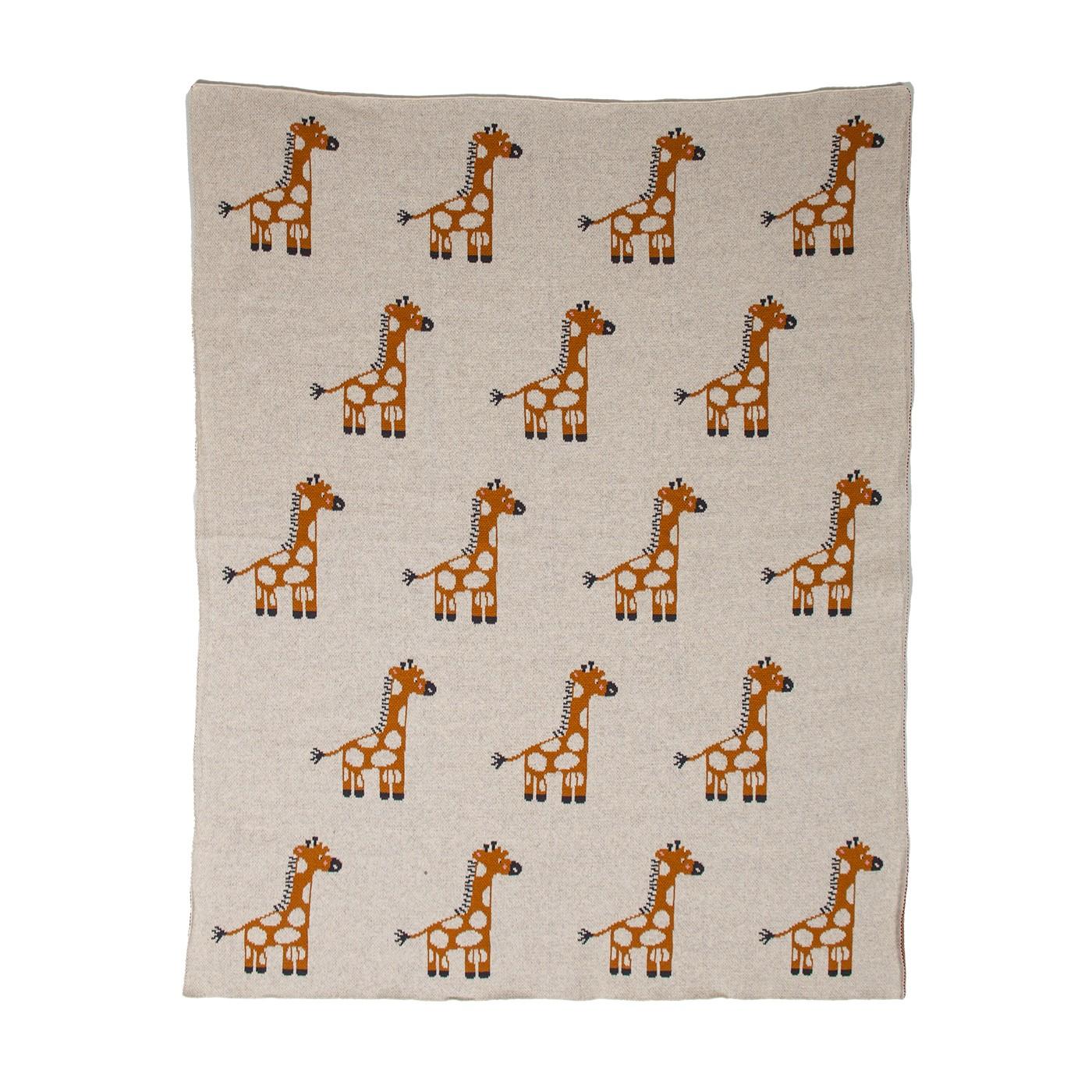 Ivory Giraffe Knitted Baby Blanket