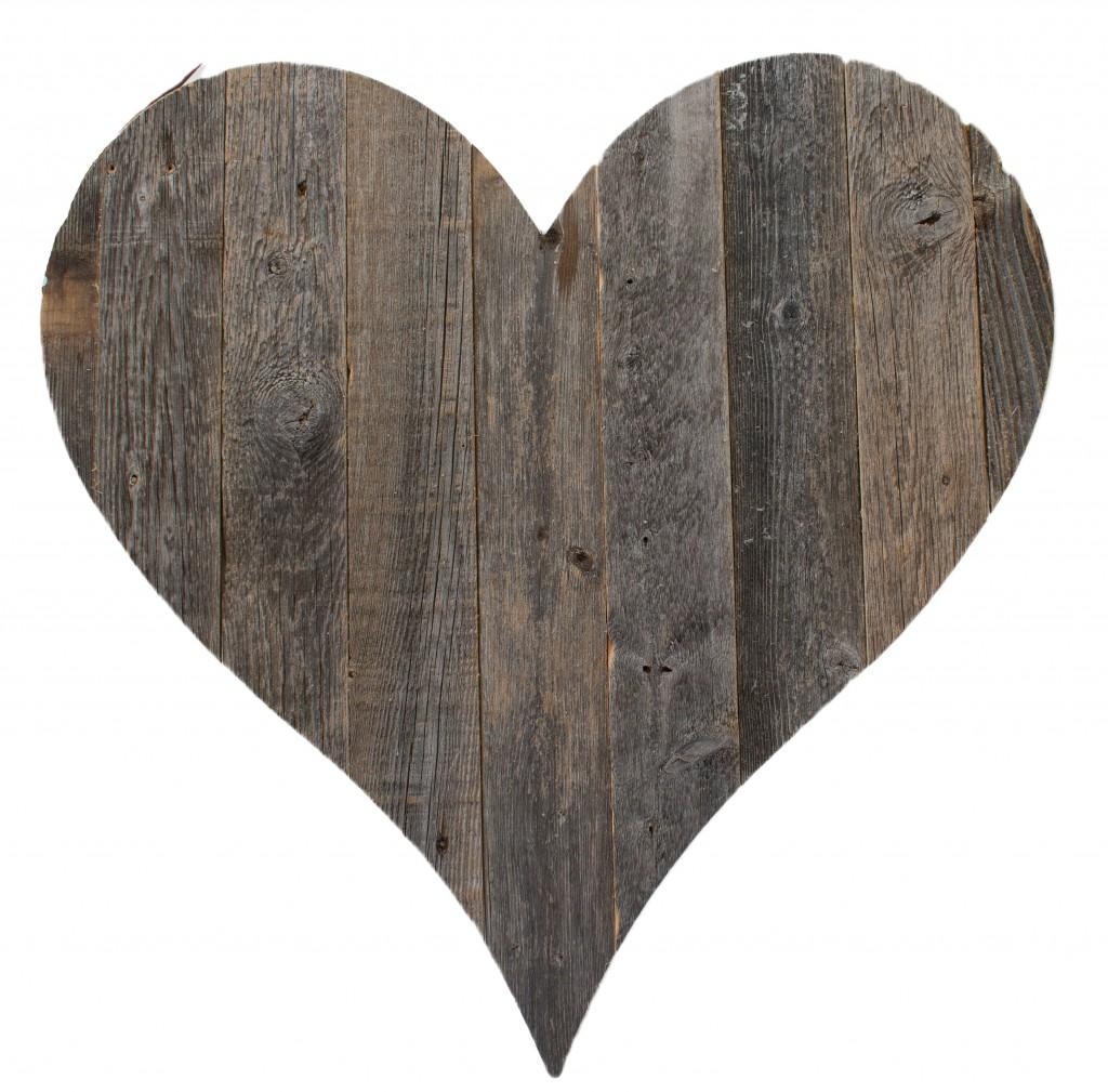 "12"" Farmhouse Gray Wooden Heart"