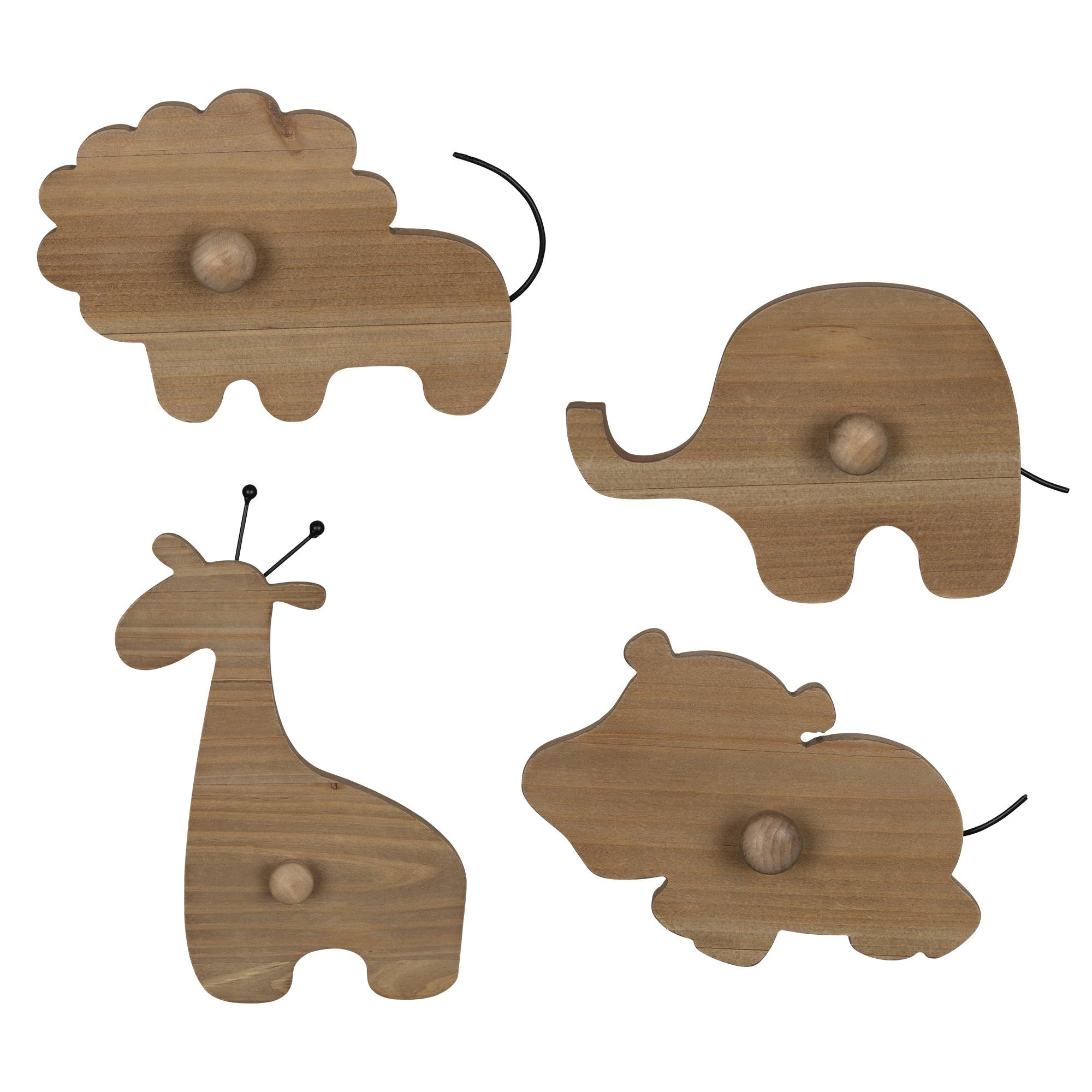Set of 4 Wooden Safari Animal Wall Hooks