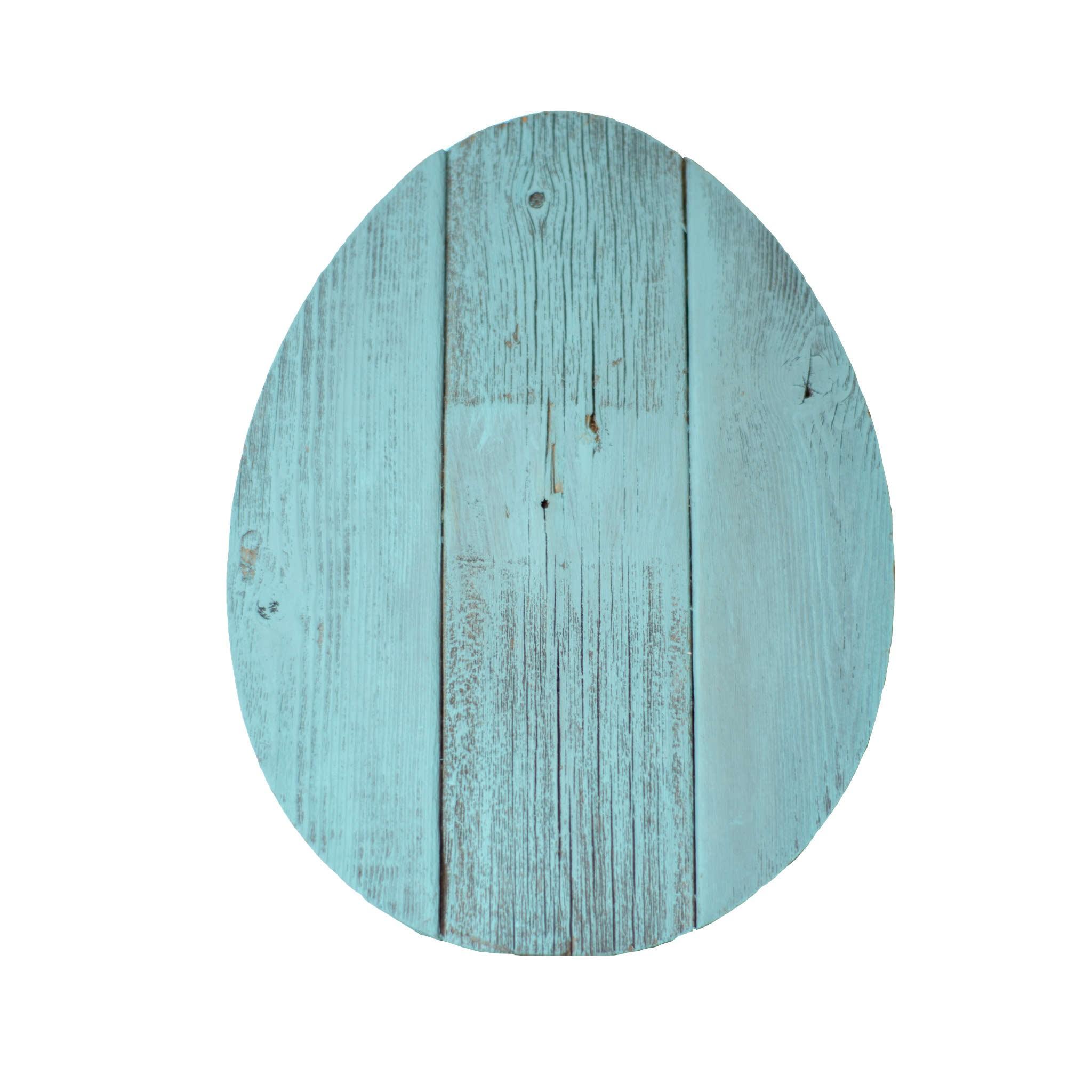"12"" Farmhouse Turquoise Wooden Large Egg"