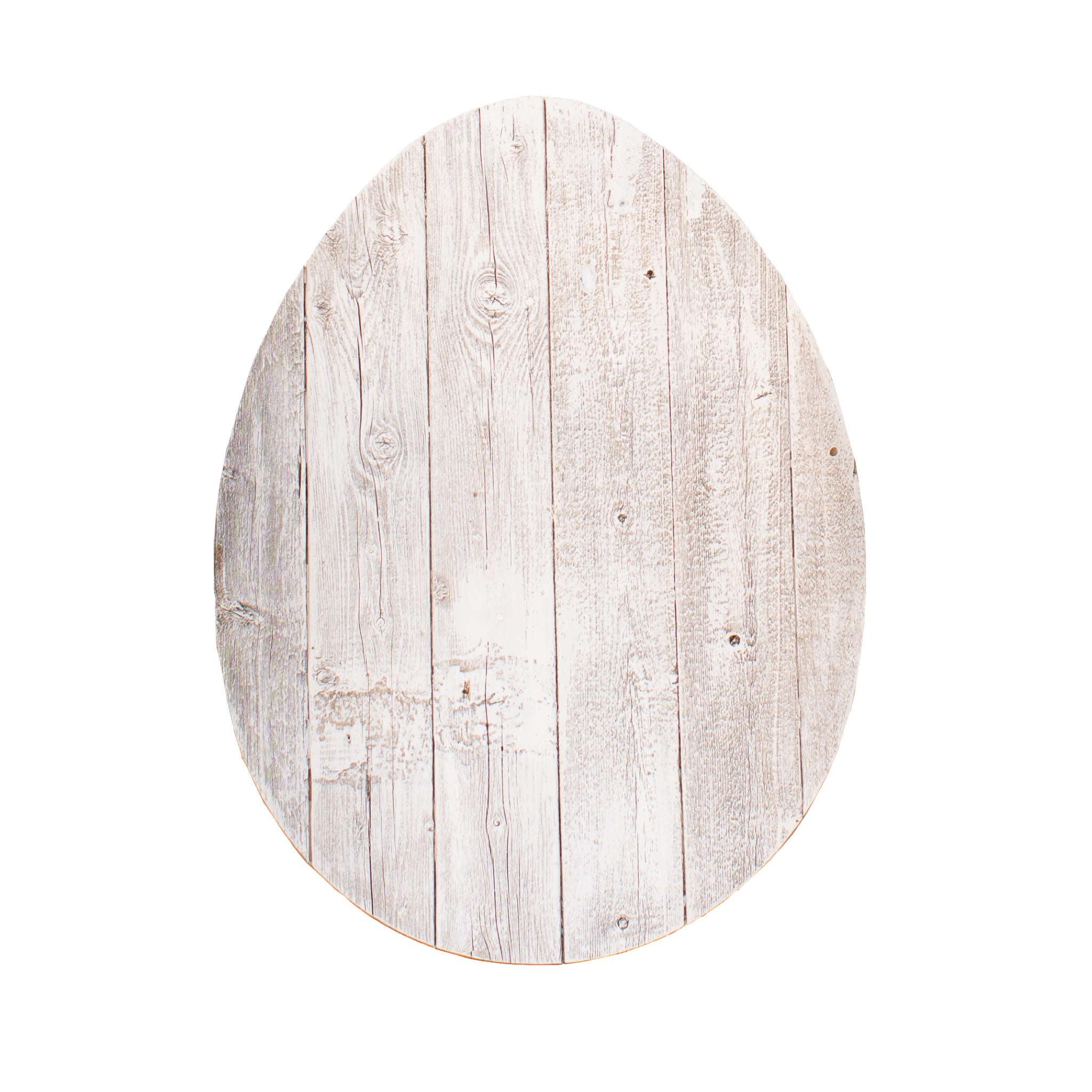 "18"" Rustic Farmhouse White Wash Wood Large Egg"
