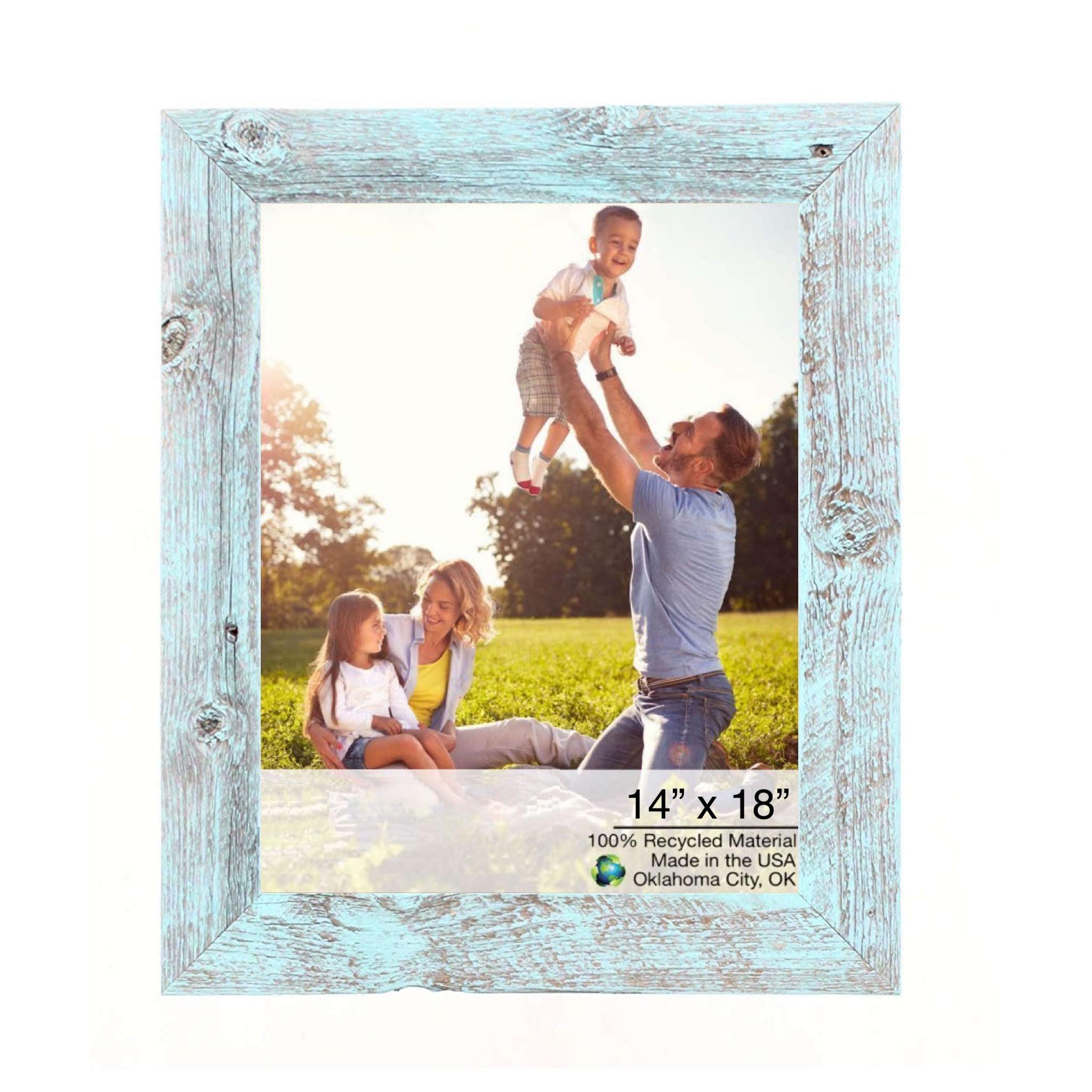 "14"" x 18"" Rustic Farmhouse Light Aqua Blue Wood Frame"