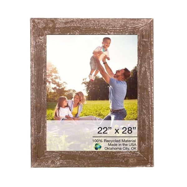 "22"" x 28"" Rustic Farmhouse Brown Wood Frame"