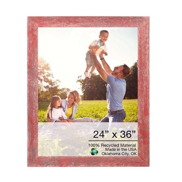 "24"" x 36"" Rustic Farmhouse Red Wood Frame"