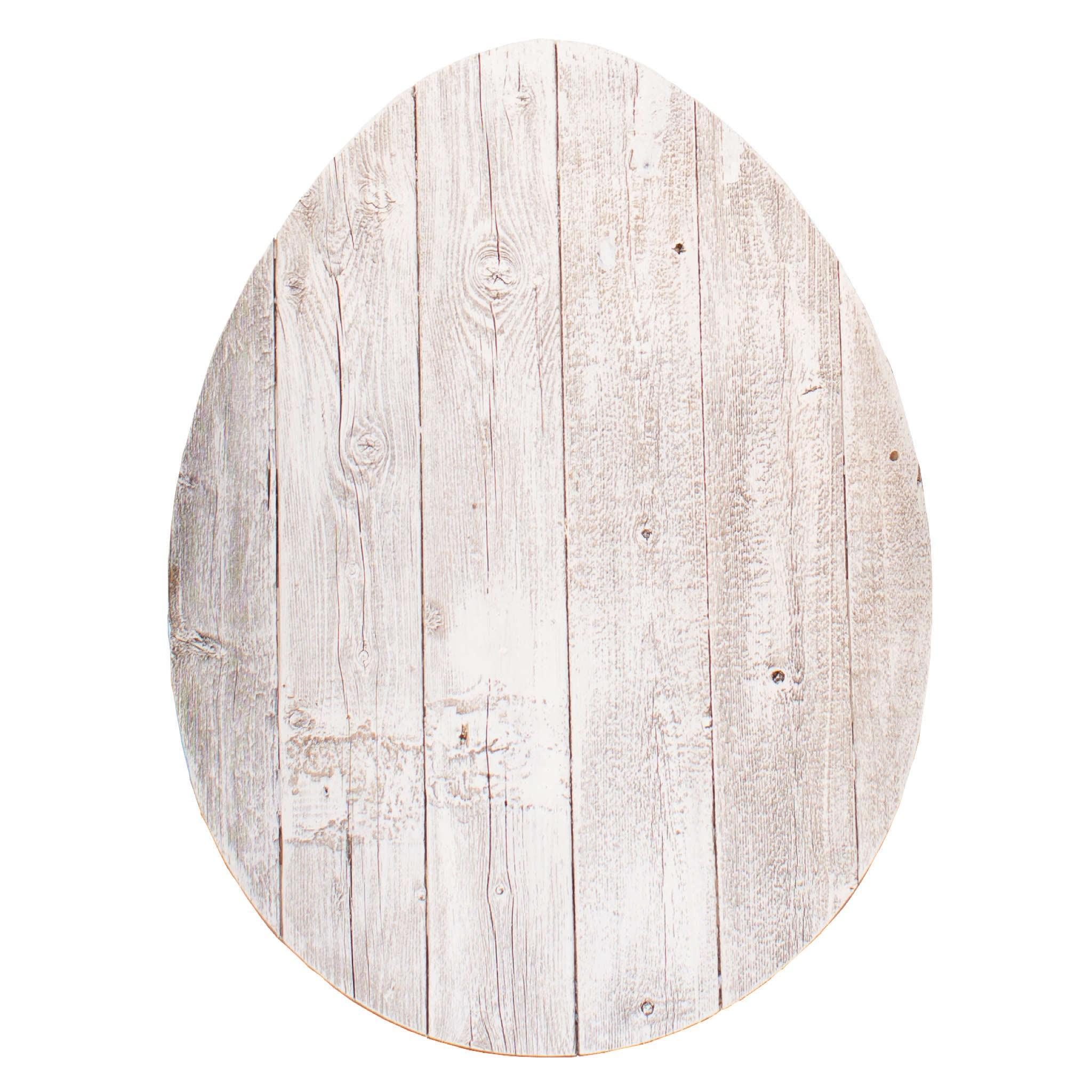 """24"""" Rustic White Wash Wood Large Egg"""