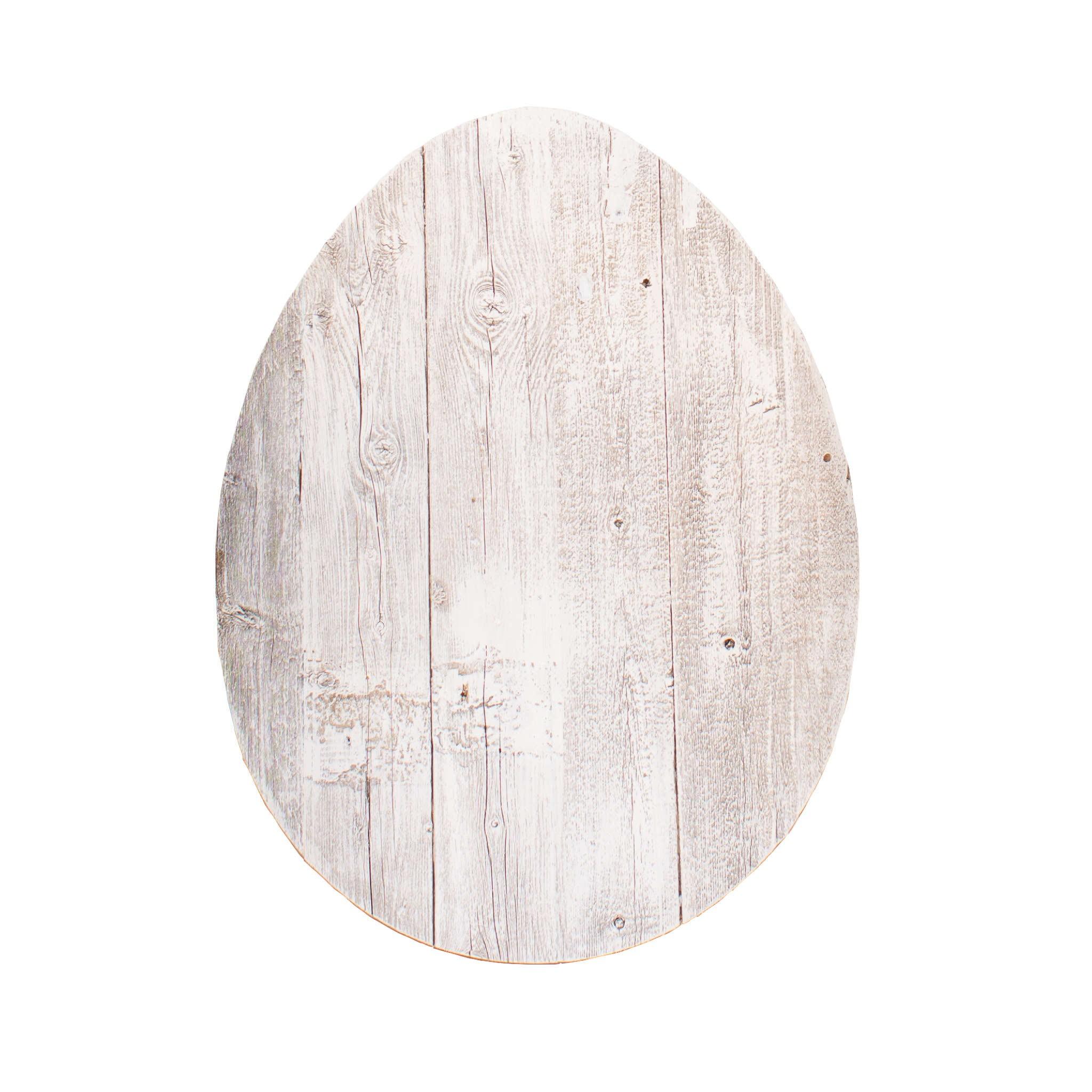"""12"""" Farmhouse White Wwash Wooden Large Egg"""