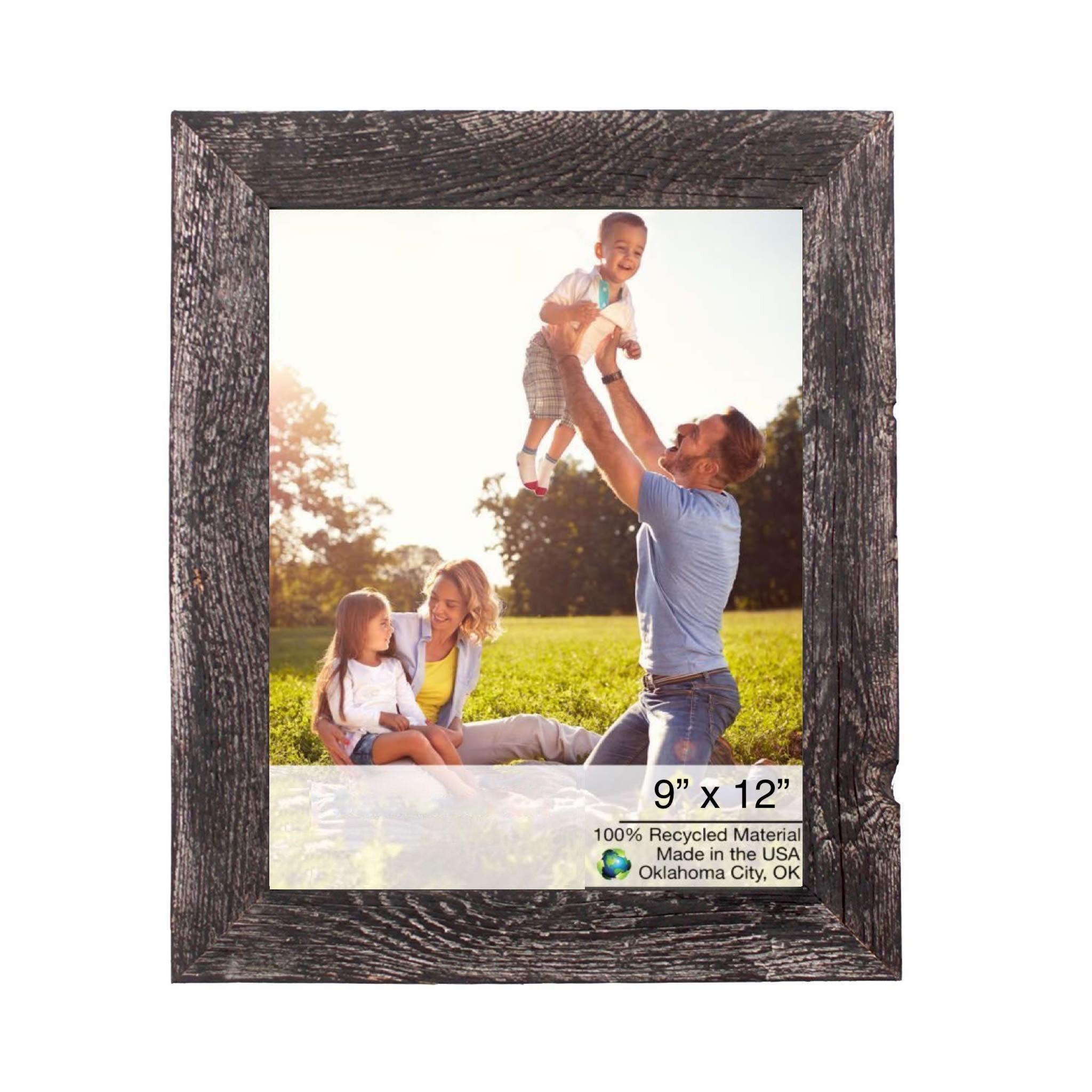 "9"" x 12"" Rustic Farmhouse Rustic Black Wood Frame"