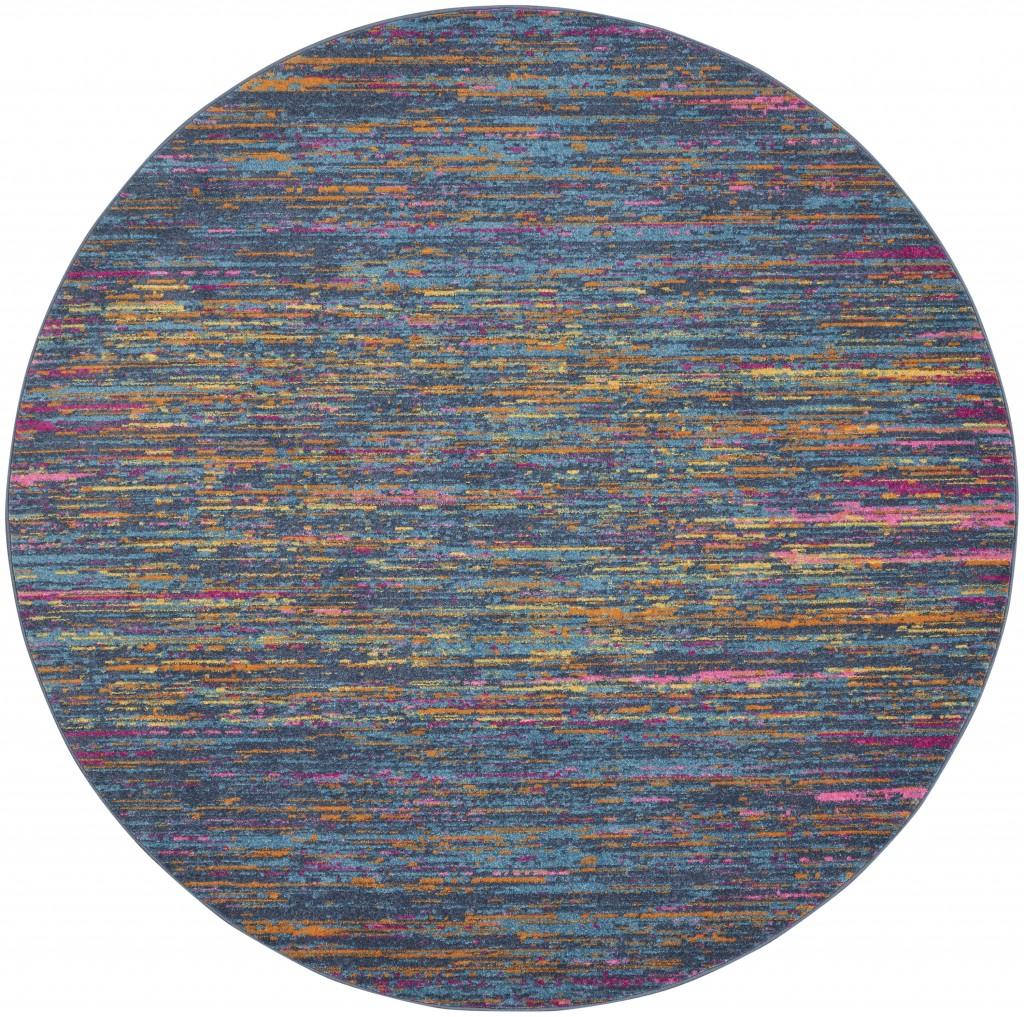 4' Round Blue Distressed Striations Area Rug