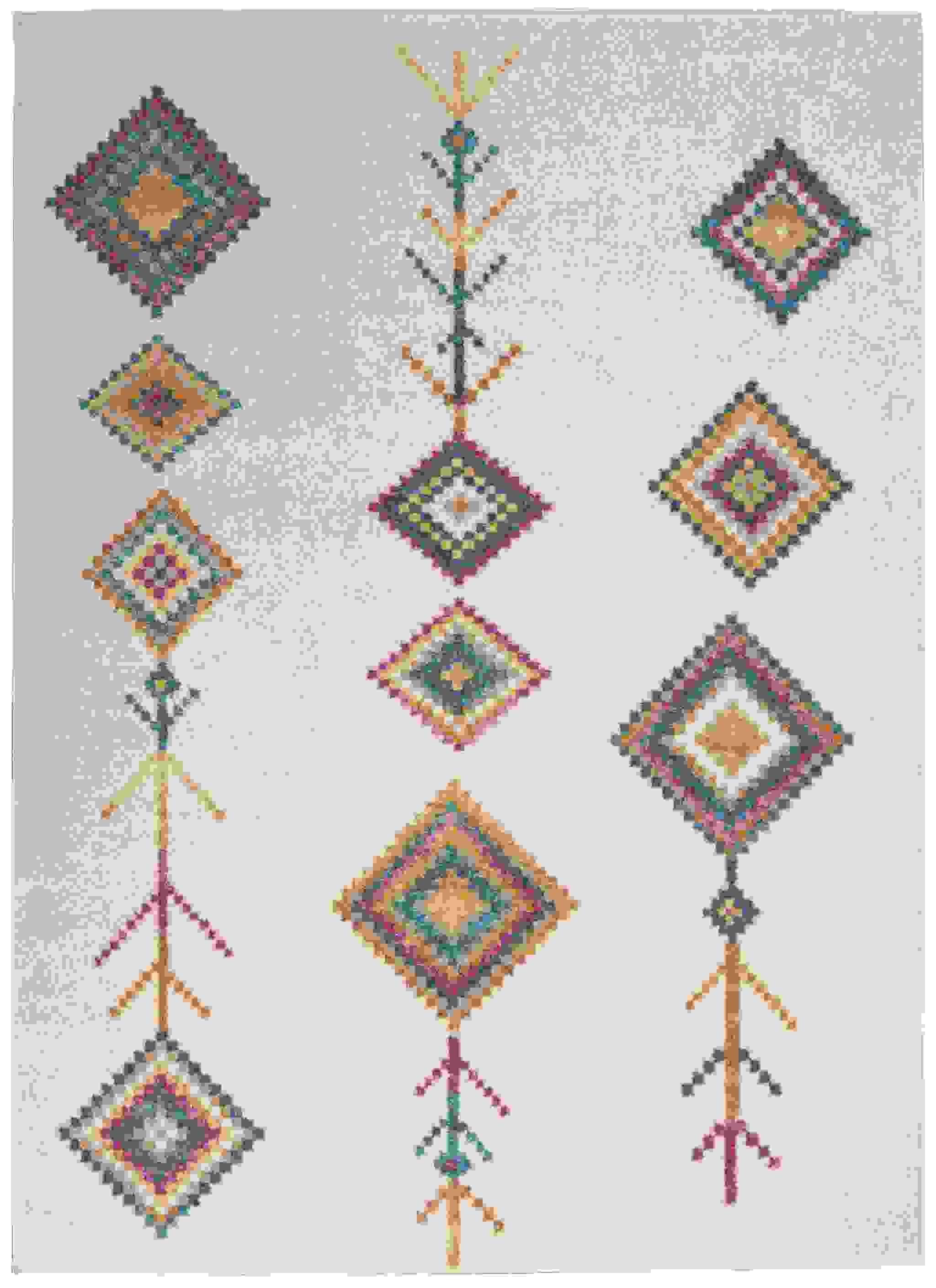 4' x 6' Ivory Boho Jewels Geometric Area Rug