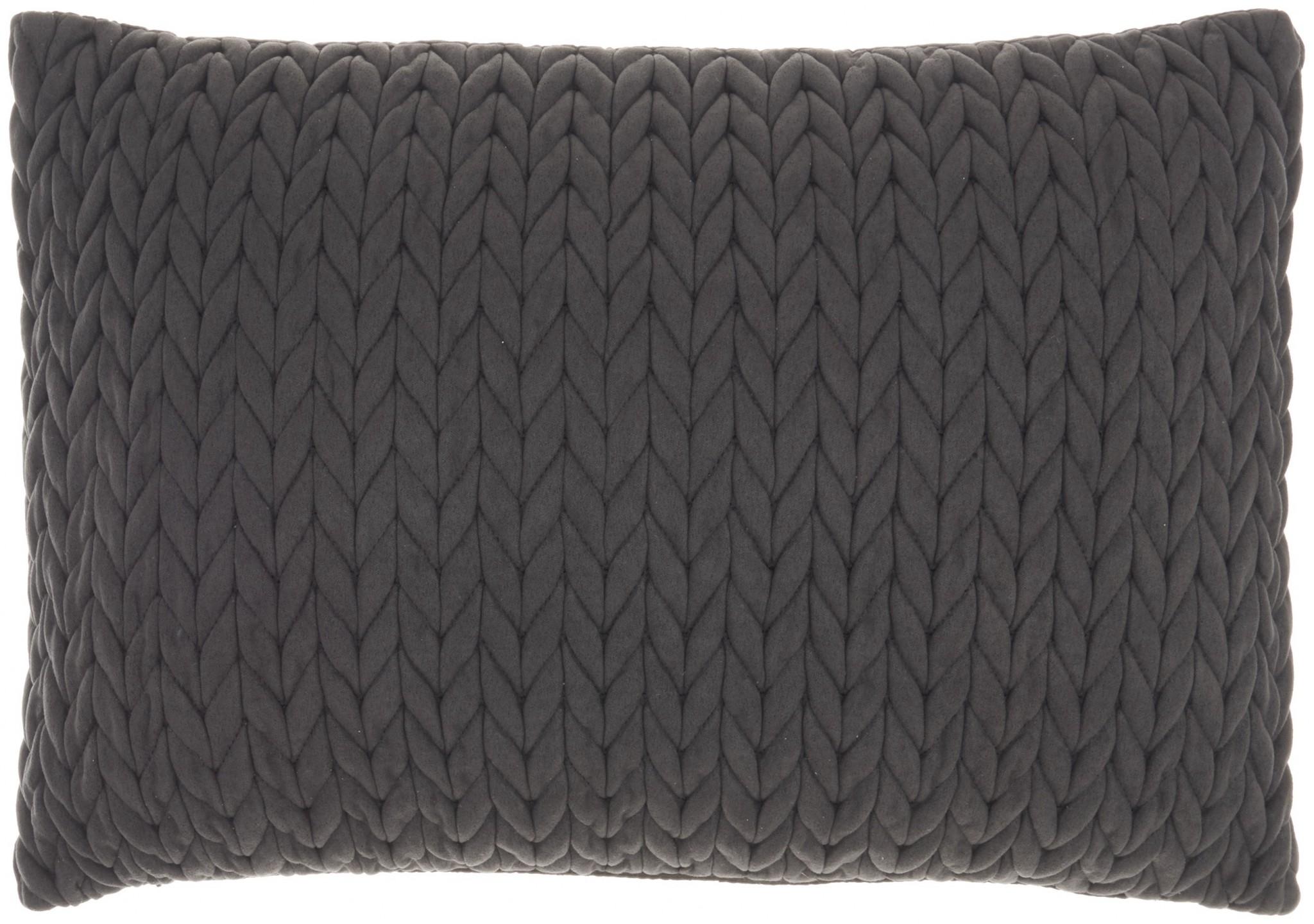 Charcoal Chunky Braid Lumbar Pillow