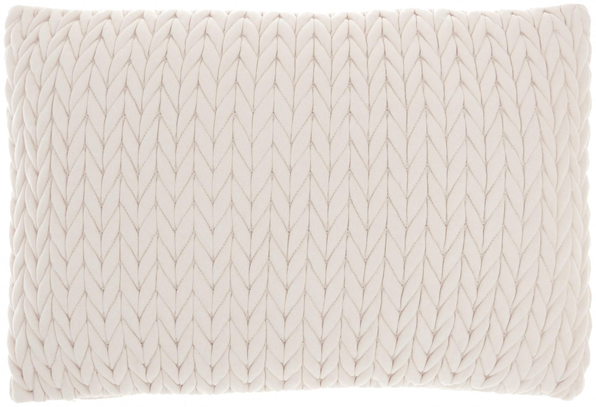 Ivory Chunky Braid Lumbar Pillow