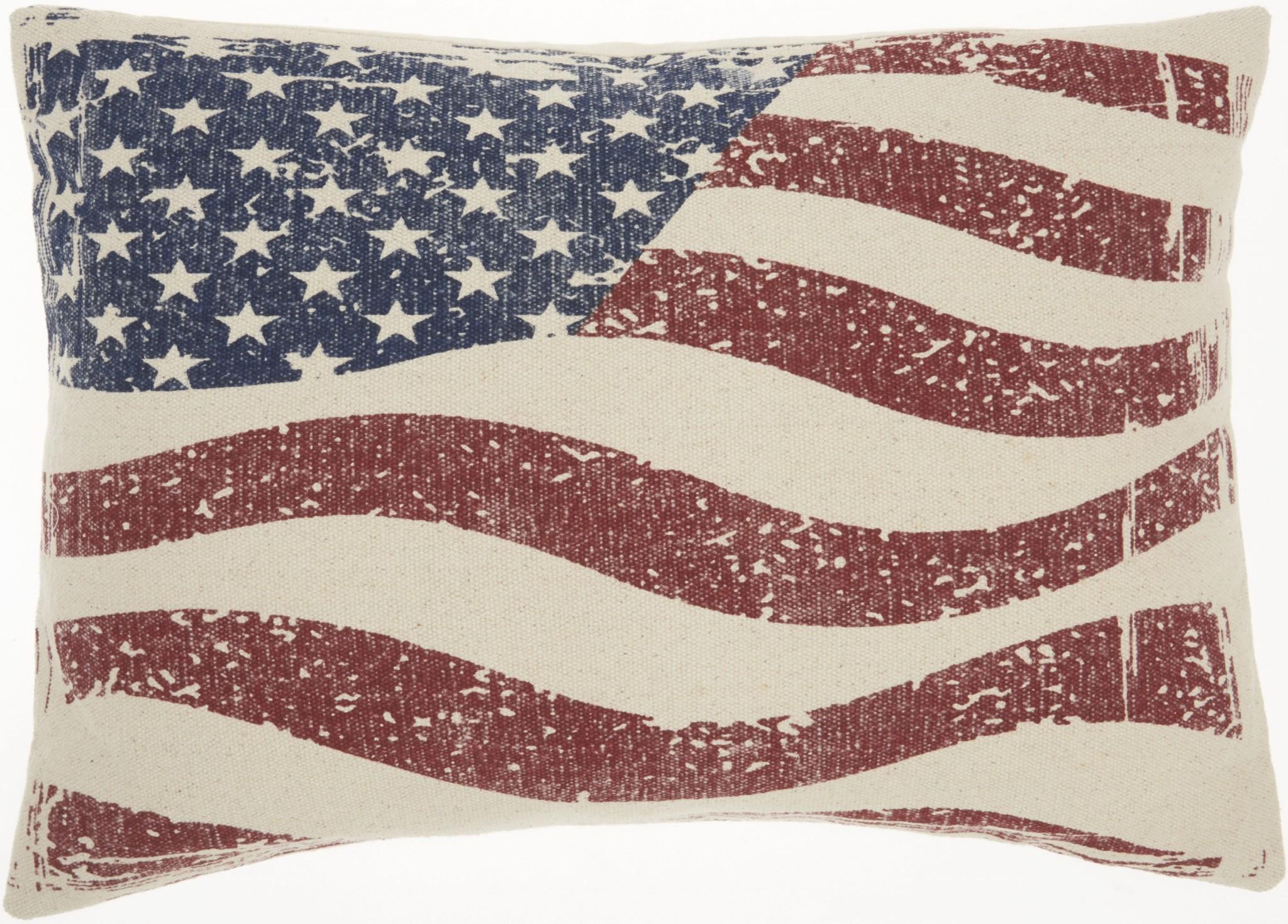 Vintage Americana Distressed Flag Lumbar Pillow