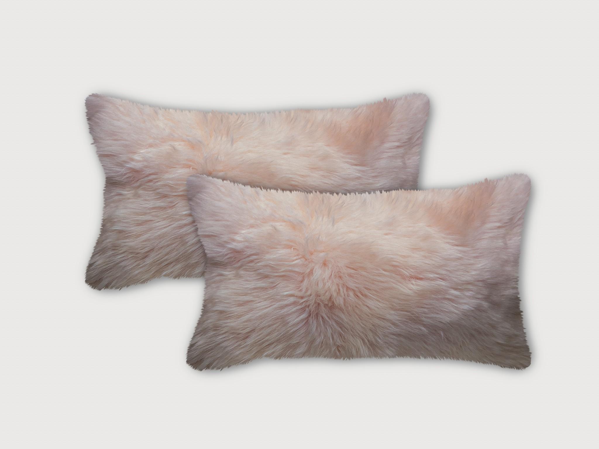 Set of Two Blush Natural Sheepskin Lumbar Pillows