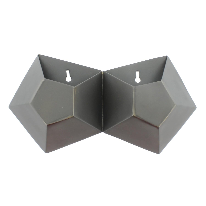 Double Pentagonal Iron Wall Vase