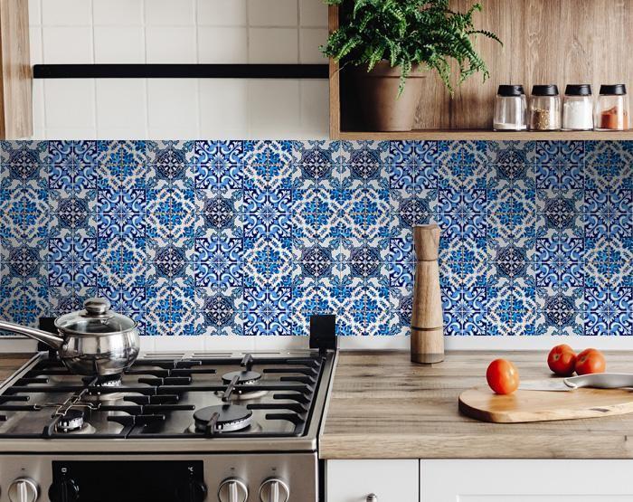 "7"" X 7"" Blue Multi Mosaic Peel and Stick Tiles"