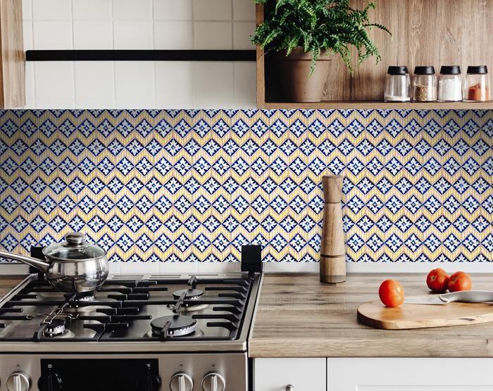 "6"" X 6"" Blue Yellow Zig Peel and Stick Tiles"