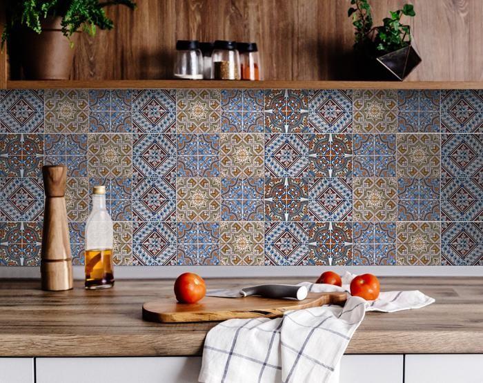 "8"" X 8"" Blue Warm Tones Mosaic Peel and Stick Tiles"