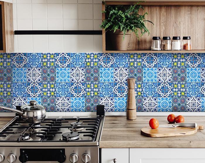 "7"" X 7"" Greta Multi Mosaic Peel and Stick Tiles"