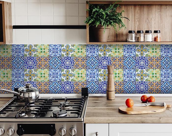 "7"" X 7"" Lima Multi Mosaic Peel and Stick Tiles"