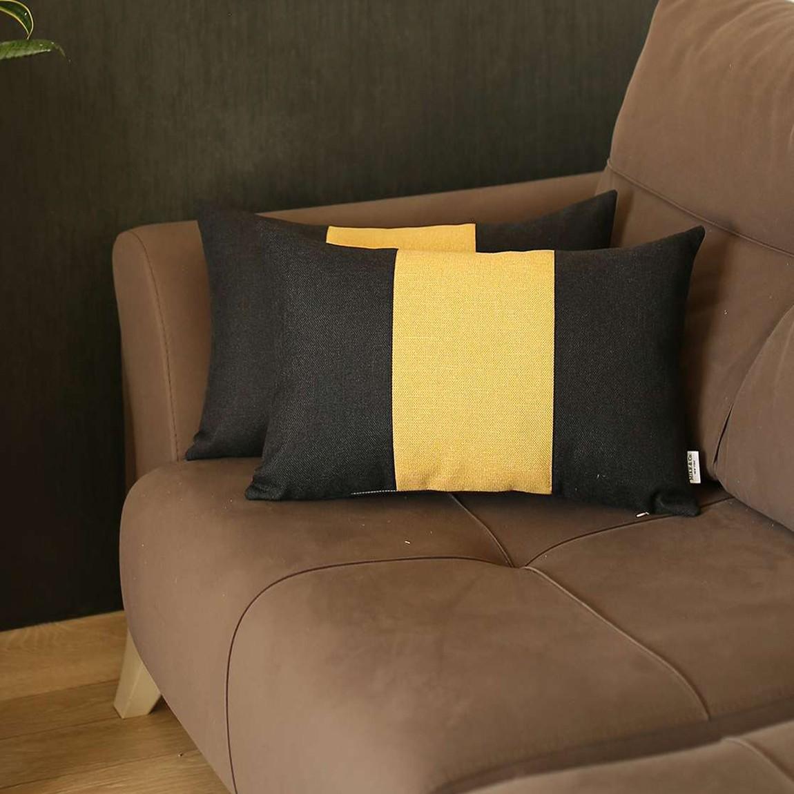 Set of 2 Black and Yellow Lumbar Pillow Covers