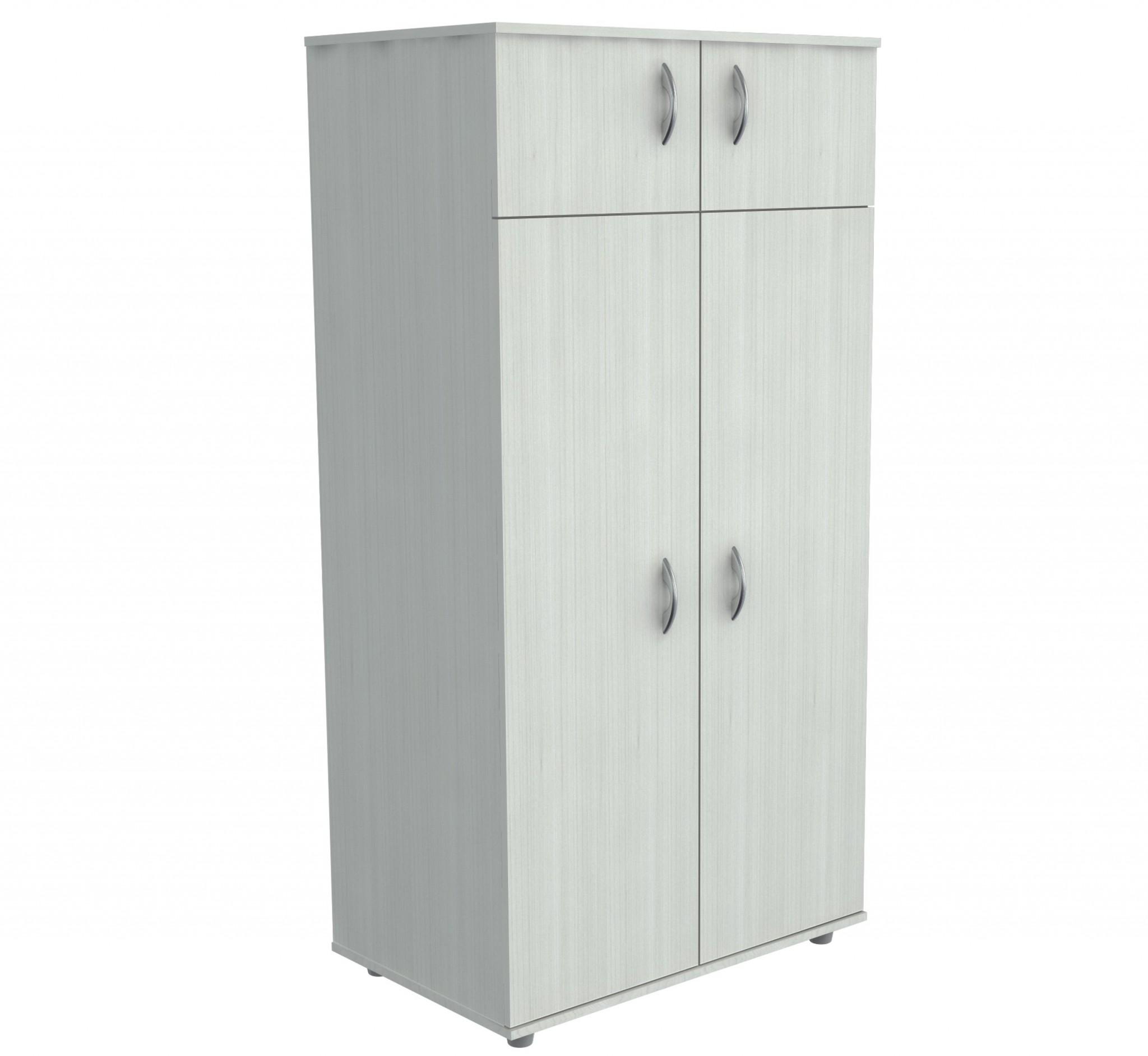 "63"" White Melamine and Engineered Wood Wardrobe with 4 Doors"