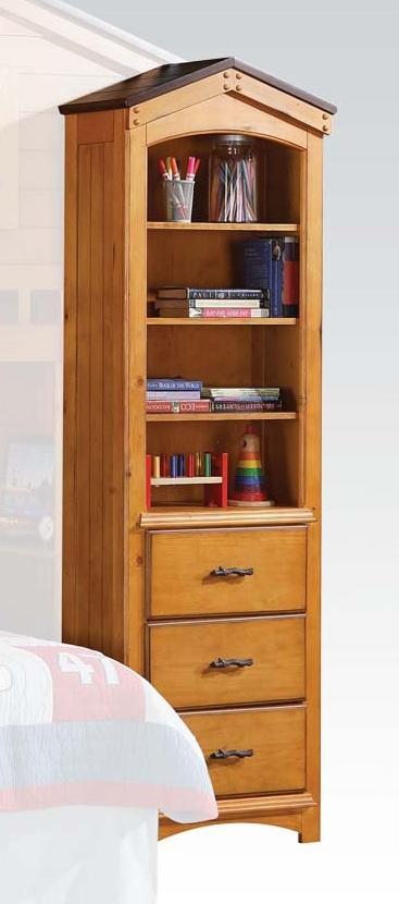 """24"""" X 14"""" X 78"""" Rustic Oak Bookcase Cabinet"""