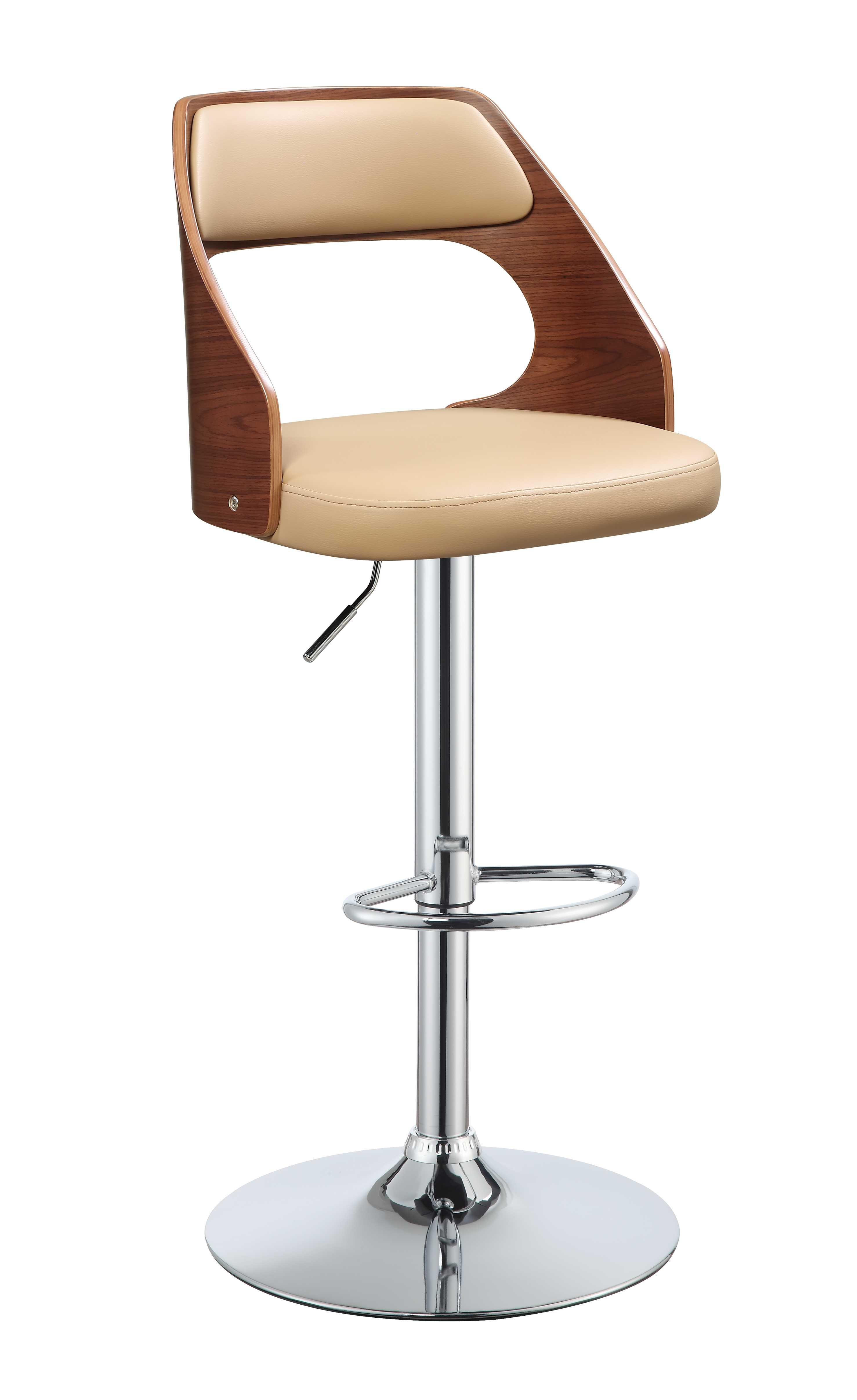 """33"""" Sleek Walnut Finish Tan Faux Leather Adjustable Swivel Bar Stool with Chrome Base"""