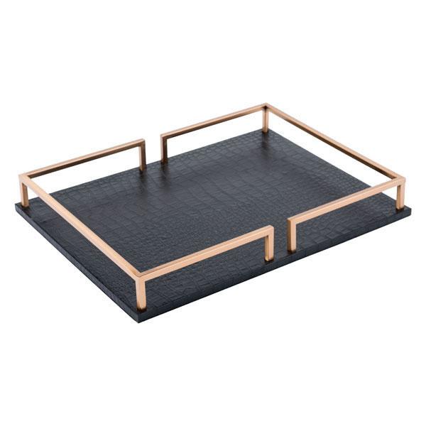 "15.7"" X 11.6"" X 2"" Black Square Table Tray"