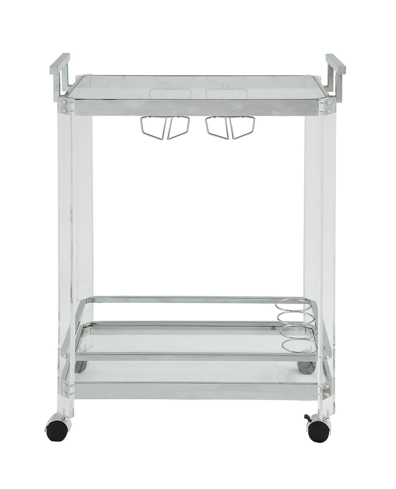 "17"" X 29"" X 35"" Chrome Clear Glass Metal Acrylic Serving Cart"