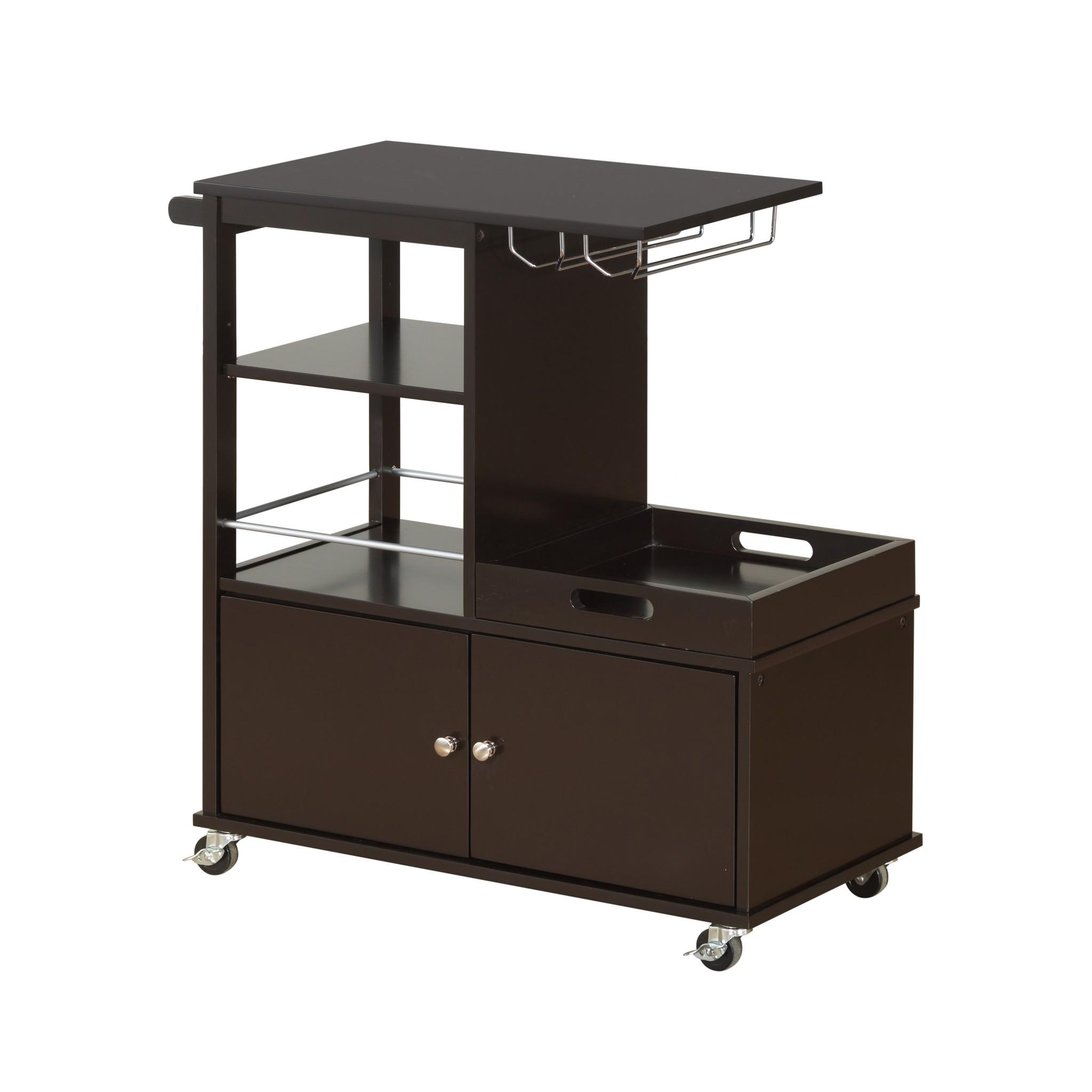 "16"" X 34"" X 34"" Wenge Wood Casters Kitchen Cart"