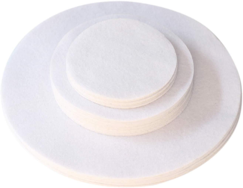 "12-10"", 24-6"", 12-4.5"" Soft White, Dish Separator Pads, Felt Plate Dividers Set of 48"