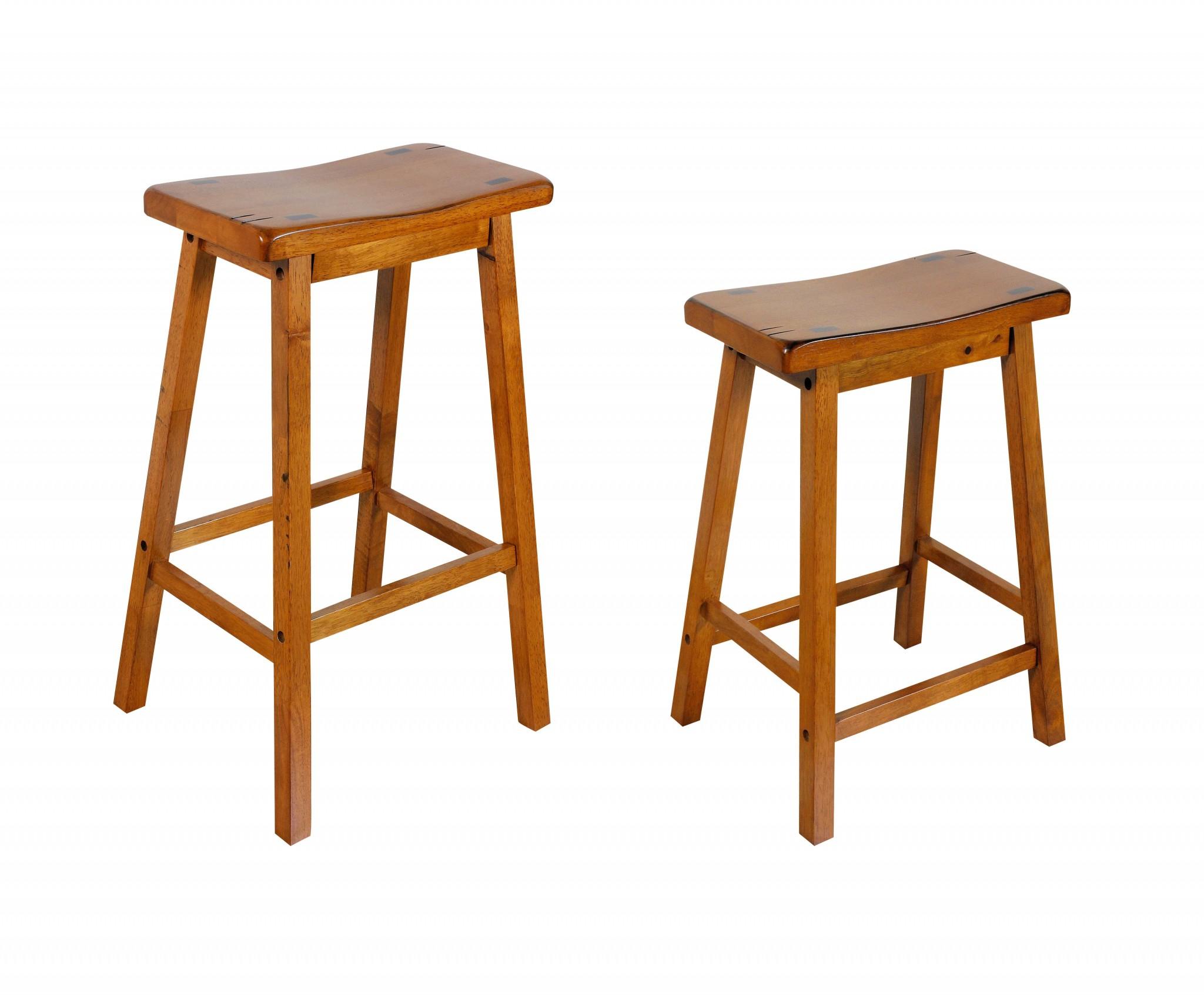 "17"" X 14"" X 24"" Oak Wood Counter Height Stool (Set-2)"