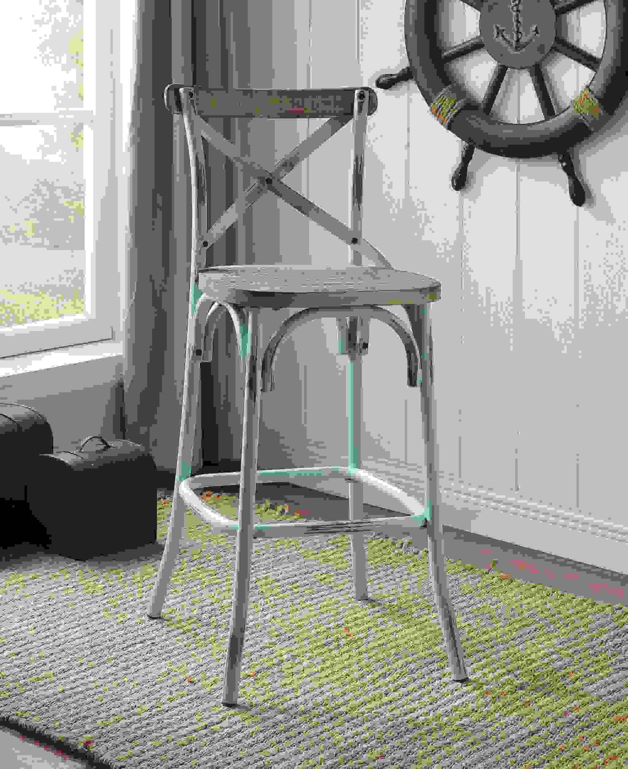 """18"""" X 20"""" X 43"""" Antique Sky & Antique Oak Wood Bar Chair (1Pc)"""