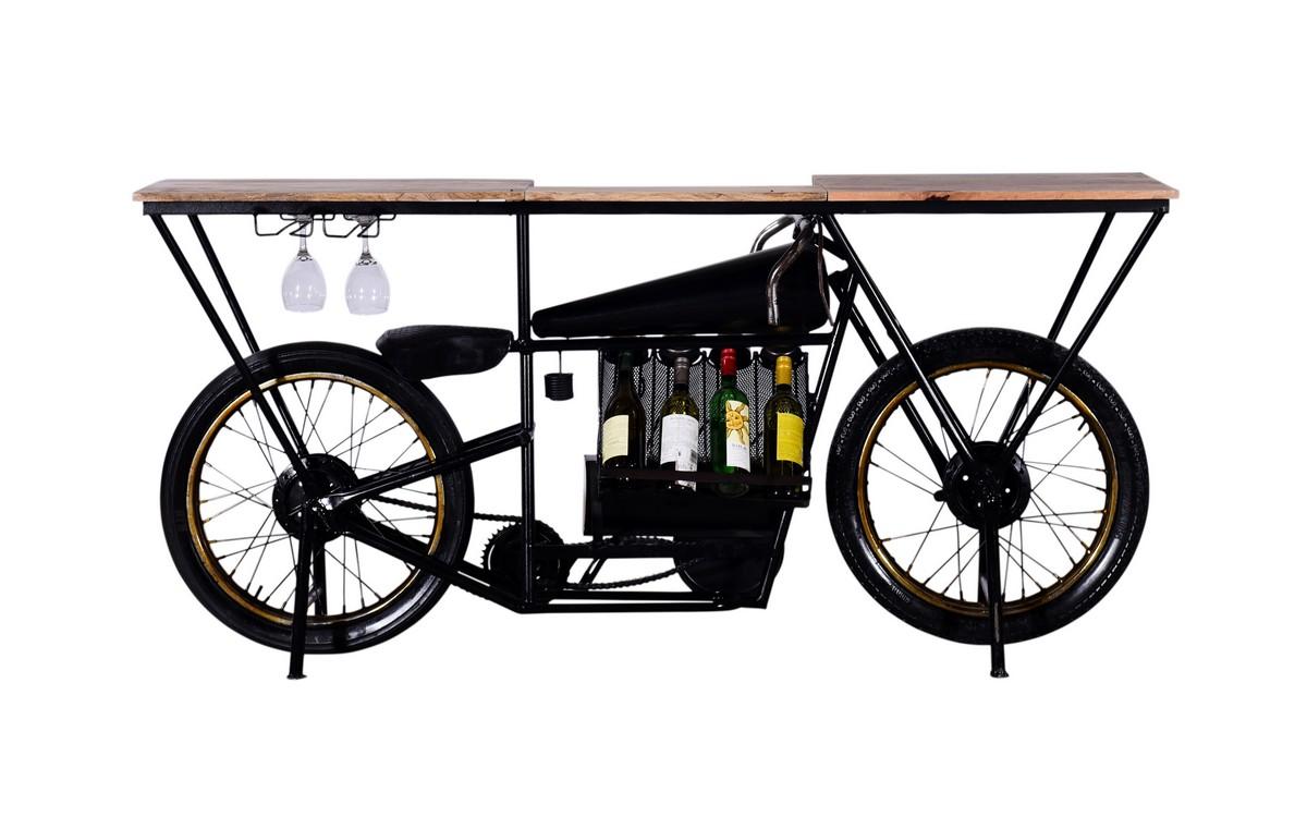 "17"" X 71"" X 35"" Black Motorcycle Wine Bar"